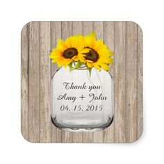 Mason jar sunflower wedding tags sunflwr6 square stickers