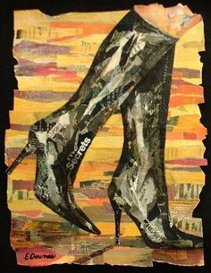 """Title: Secrets ~ Eileen Downes the collage artist who """"paints"""" with bits of torn paper for a palette"""
