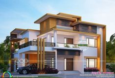 4 bedroom 3380 square feet modern contemporary house plan architecture by Rit designers, Kannur, Kerala. Kerala House Design, Unique House Design, House Front Design, House Design Photos, Modern Design, 2 Storey House Design, Duplex House Design, Morden House, Indian House Plans
