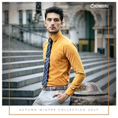 Fresh sartorial choices like this mustard yellow shirt with grey pants will brighten up a dull winter morning! What do you think? #MrBro #OxembergMakeYourMove #AW17