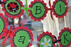 Ladybug Birthday Banner - Girls Birthday Party - Personalized Party Decorations - Red, Green, Black via Etsy Happy Birthday Name, Sunshine Birthday, 1st Birthday Banners, Little Girl Birthday, Birthday Decorations, 2nd Birthday, Birthday Ideas, Ladybug Girl, Ladybug Party