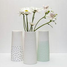 Reneé Boyd : Ceramic White Vase with full White Spots