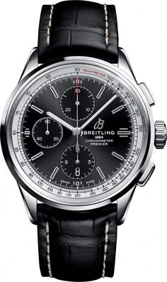 Breitling Watch Premier Chronograph 42 Black Croco Tang- Watch Available to buy online. Men's Watches, Breitling Watches, Sport Watches, Luxury Watches, Cool Watches, Watches For Men, Wrist Watches, Breitling Superocean Heritage, Breitling Navitimer