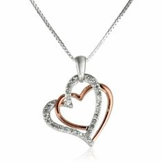 Sterling Silver with Pink Gold Plated 1/4cttw Diamond Twisted Hearts Pendant Necklace, 18""