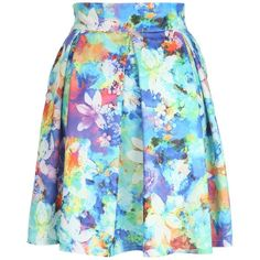 Jane Norman Watercolour Floral Box Pleat Skirt (2.490 RUB) ❤ liked on Polyvore featuring skirts, bottoms, floral knee length skirt, high waisted skirts, high-waist skirt, floral a line skirt and floral print skirt