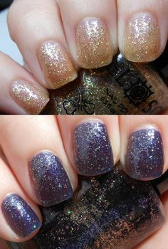 Del Sol - Starry Night - Color changing polish from a golden sparkle to a purple sparkle in sunlight Manicure And Pedicure, Pedicure Ideas, Nail Ideas, Hair And Nails, My Nails, Color Changer, Night Love, Purple Sparkle, Night Makeup