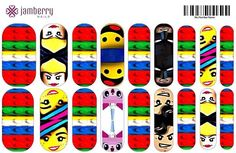 Lego Movie inspired nail wraps.  Design your own in the Jamberry Nail Art Studio: http://www.kimd.jamberrynails.net/nas/