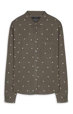 Olive Printed Pocket Shirt