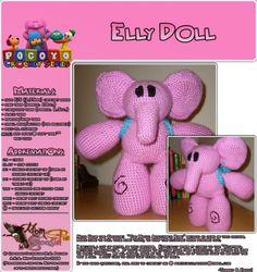 Elly from Pocoyo - PDF Crochet Pattern Single Crochet, Hand Crochet, Elmo, Front Post Double Crochet, Crochet Elephant, Crochet Dolls, Crochet Flowers, Baby Dolls, Free Pattern