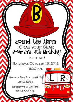 Fireman  Birthday Invitation- Digital. $14.50, via Etsy.