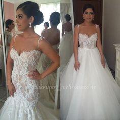Steven Khalil Two Pieces Mermaid summer beach Wedding Dresses 2016 Lace Tulle Detachable Skirt Trumpet Spaghetti Wedding Bridal Gown