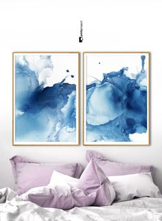 Set of 2 Abstract Prints Modern Blue Poster Indigo Diptych Art, Abstract Prints, Wall Art, Abstract Painting, Painting, Blue Poster, Art, Abstract Watercolor, Prints