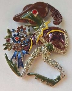 Vintage-1939-Coro-Frog-Went-a-Courtin-Pin-Brooch-Fur-Clip-Corocraft-RARE