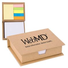 Eco/Recycled Sticky Note Memo Case (DA480) - As low as $2.19c - Recycled memo case filled with sticky pad, flags and non-adhesive white memo paper. Approx. 25 sheets per sticky pad and flag, 180 sheets of note paper. Case made of 100% recycled materials, paper made of 51% recycled materials.