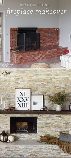 First thing's first—the winner of the framed Roman Numerals print has been chosen! Check the Rafflecopter box to see if it was you!Whew, I can't even explain what a relief it is to fina… Stone Fireplace Makeover, Fireplace Update, Home Fireplace, Fireplace Remodel, Brick Fireplace, Living Room With Fireplace, Fireplace Surrounds, Fireplace Design, My Living Room