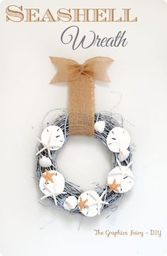 Pottery Barn inspired DIY summer seashell wreath