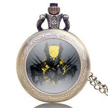 Hot Moda Tema X-Men Logan Marvel Comics Relógio de Bolso Com Corrente de Quartzo Retro Relógios de Presente Pingente de Colar de Jóias