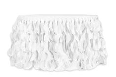 Curly Willow 14ft Table Skirt - White (new tone)