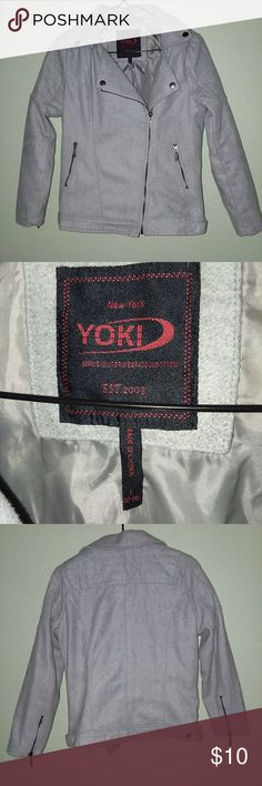 Yoki GIRLS Moto Jacket Yoki Moto Jacket Grey Color Size GIRLS L- 12/14 Can fit WOMEN'S XS  90% Polyester 10% Wool Grey Color Worn only a handful of times. *BUNDLES WELCOME* Yoki Jackets & Coats