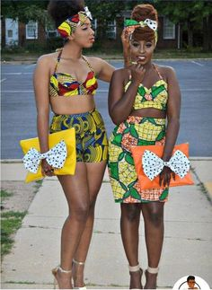 African print swimsuits with VERY cute purses. Love the bow