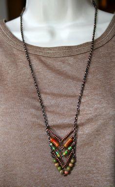 Chevron boho beaded long necklace by AbIntraJewelrystuff on Etsy, $10.00