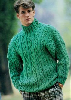 Instant PDF Digital Download Vintage Knitting Pattern Mans Cable Sweater Jumper Pullover 36-42 Chest Double Knitting Yarn