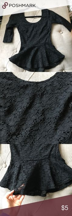 Lace peplum top Worn once. Black with lace detail and a peplum cut. Papaya Tops