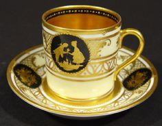 1352: Dresden porcelain cabinet can and saucer, hand gi : Lot 1352