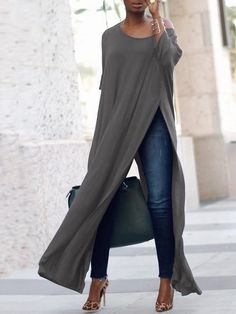Stylish Solid High Slit Casual Blouse (S - Diy Crafts - hadido Look Fashion, Womens Fashion, Fashion Design, Fashion Trends, Ladies Fashion, Fashion Ideas, Feminine Fashion, Fashion Spring, Fashion Advice