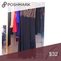 RAG Dress Black dress with V neck. Top part is creme color underneath a black sheer overlay. Size M RAG Dresses Midi