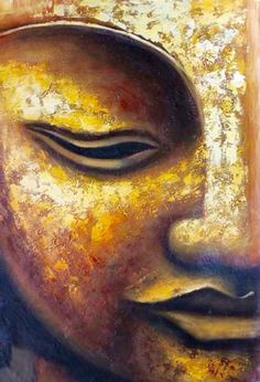 """Golden buddha"" oil painting - asian - paintings - by noa's art- mobile art gallery Buddha Painting, Oil Painting Abstract, Texture Painting, Paint Texture, Golden Buddha, Buddha Face, Paintings Famous, Art Asiatique, Mobile Art"
