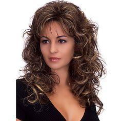 capless onda corpo longo macio meio estrondo lado perucas sintéticas para as mulheres de calor marrom escuro resistentes com rede de de 5409082 2017 por R$49,72