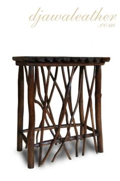 Halona Bar table, a new style from Djawa Leather. Furniture Board, Rustic Furniture, Twisted Tree, Rustic Table, Barn Wood, Teak, Primitive, Stool, Tables