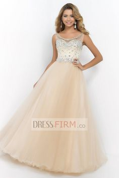 2015 Pincess Ball Gown Scoop Empire Tulle with Crystals Floor Length Prom Dresses [2015BPD-39578] - £ 119.04 :