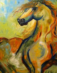 Abstract acrylic horse painting on Etsy, $100.00
