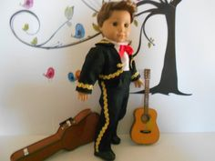 Mariachi charro traje suit black gabardine gold trim fits 18 in like American Girl boy doll Folklorico Dresses, Mariachi Suit, American Boy Doll, Boy Doll Clothes, 18 Inch Doll, Black Boots, Bows, Suits, Ethnic