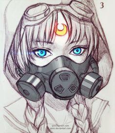 Dystopian Moon by Qinni on DeviantArt Manga Art, Anime Art, Qinni, Arte Sketchbook, Poses References, Cool Drawings, Cute Art, Art Inspo, Art Sketches