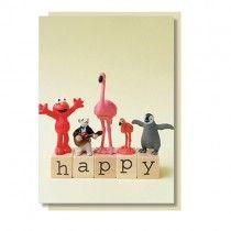 Flamingo Klappkarte HAPPY