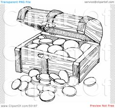 Free Treasure Coloring Pages | Clipart Outlined Treasure Chest ...