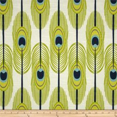Premier Prints Feathers Slub Canal from @fabricdotcom  Screen printed on cotton slub duck (slub cloth has a linen appearance); this versatile medium weight fabric is perfect for window accents (draperies, valances, curtains and swags), accent pillows, duvet covers, upholstery and other home decor accents. Create handbags, tote bags, aprons and more. Colors include light blue, citrine, lime, navy and white.