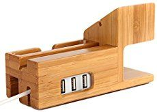 A catch-all docking station made to hold your phone and Apple watch as they charge. It can also hold a wallet, keys, glasses, jewelry and more. It's made from Cherry wood and can be personalized with a name or initials. Related PostsOrvibo COCO Smart Home Power StripMinimalist Leather Camera Bag by Stock & Barrel CoVader's First CrewCountertop – Welcome To The Smart Kitchen