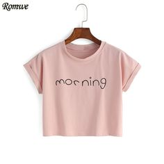 ROMWE Womens New Arrivals 2016 Tops Summer Korean Style Cute Fashion Pink Round Neck Short Sleeve Letter Print Crop T-shirt