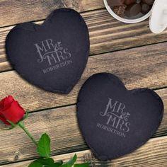 Personalised Dotty Mr and Mrs Slate Heart Coaster Set