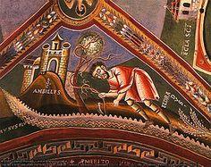 Romanesque art - Life of St. century fresco in Novalesa Abbey