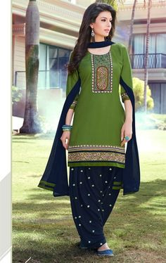 Exquisite Chrome Green Patiala Salwar Suit