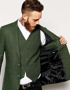 Groom in rustic vintage green jacket and waistcoat *Jacket/vest combo - love the color (prefer if it weren't made of wool