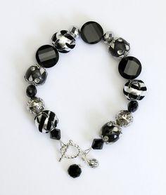 Black and Silver Beaded Bracelet by ClassyGemsByCarol on Etsy, $38.00