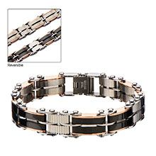 Men's Stainless Steel, Black IP and Rose Gold IP Reversible Bracelet. Featuring our new reversible bracelet with two different sides. Get two bracelets in one! Stainless Steel Jewelry, 316l Stainless Steel, Metal Jewelry, Unique Jewelry, Gold Material, Rose Gold Plates, Jewelry Design, Jewels, Bracelets