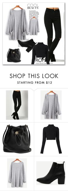 """""""Grey Elastic Cuff Cardigan With Pockets"""" by romar66 on Polyvore featuring Balmain"""