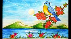 How to draw Spring Season Scenery.Step by step(easy draw) Pencil Drawings Of Nature, Oil Pastel Drawings, Nature Drawing, Landscape Drawings, Drawing Eyes, My Drawings, Easy Scenery Drawing, Girl Drawing Easy, Easy Drawings For Kids